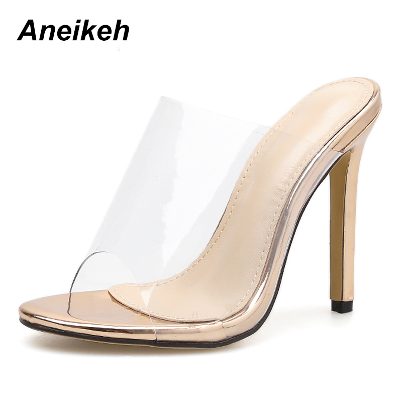 Us 14 86 49 Off Aneikeh Women Slippers 2019 Fashion Pvc High Heeled Women Strange Heels Mules Champagne Shoes Clear Open Toe Thin High Heels In
