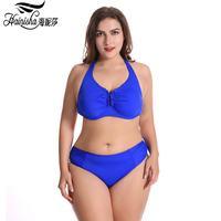 HAINISHA Halter Top Bikini Swimwear Women Push UP Bandage Bikinis Set High Waist Plus Size 58