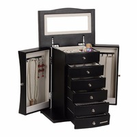 ROWLING Black Large Luxury Jewellery Box PU Multi Drawers Armoire Mirror Extra Large Chest Necklace Storage Organizer Caskets