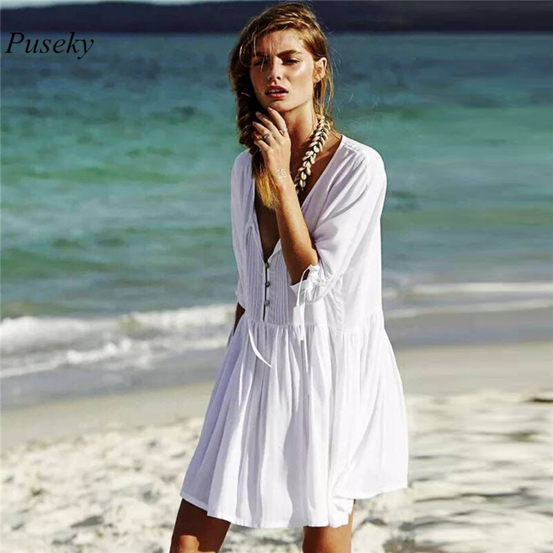 Summer Beach Rayon Cover-Ups Women Bathing Suit Deep V Neck Frilled Drawstring Blouse 3/4 Sleeve Mid Summer White Dress Cover Up