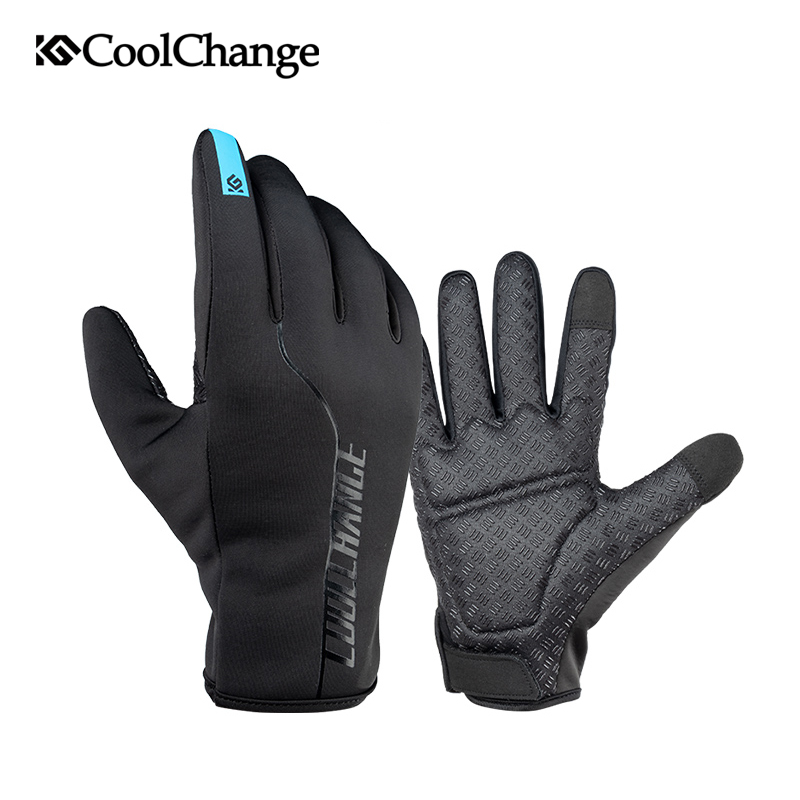 CoolChange Winter Windproof Cycling Gloves Full Finger Thermal Warm Bike Bicycle Gloves Touch Screen MTB Gloves for Men Women rockbros cycling gloves full finger touch screen men women winter warm mtb bike bicycle windproof gloves for smartphone phone
