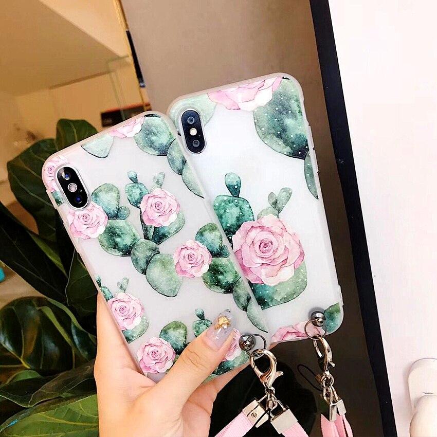 Роскошные летние тонкий чехол для телефона 7 7 Plus кактусов цветы птицы для iphone 6 6 S плюс 8X10 наручные ремень и шейный ремень Cove