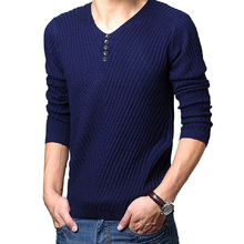 5 Colors Men Loose Sweaters Full Sleeve Slim Solid Casual Clothing V-Neck Handsome Man knitting All-Match Pullovers New Hot Tops