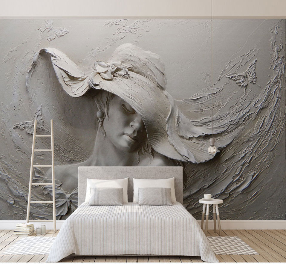 Stereoscopic Butterfly Beautiful Lady Figure Wallpaper Murals 3d Photo Mural for bedroom 3d Wall Murals 3D Figure Wall paper shinehome black white cartoon car frames photo wallpaper 3d for kids room roll livingroom background murals rolls wall paper