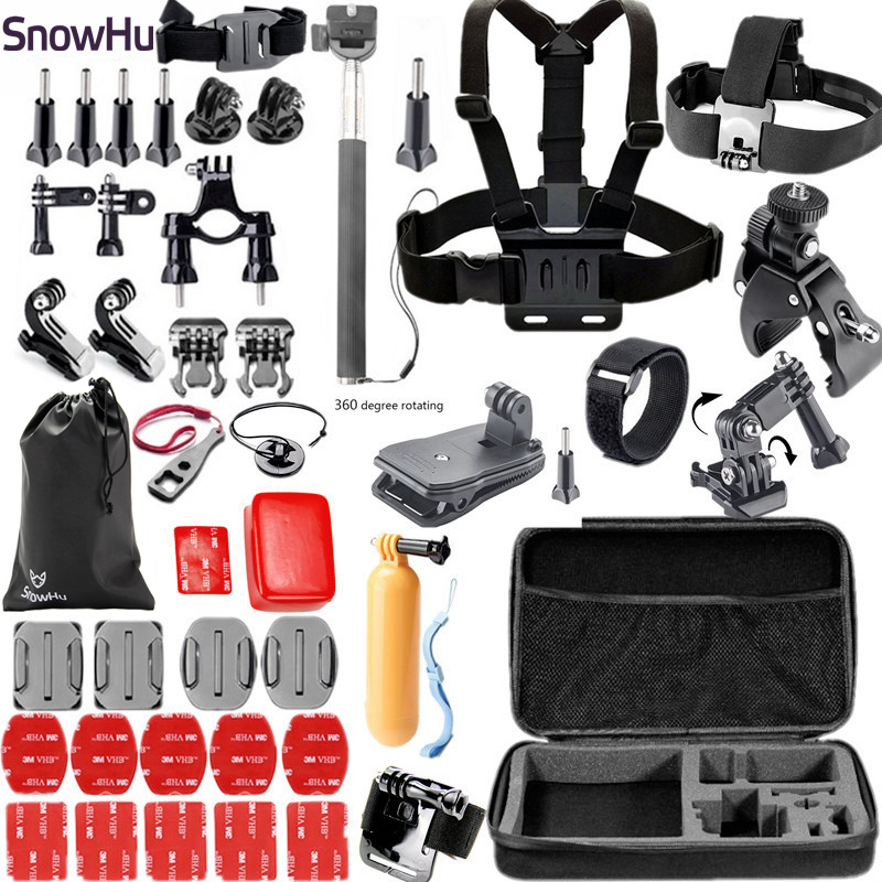 Gopro Accessories Set Helmet Harness Chest Belt Head Mount Strap Monopod For