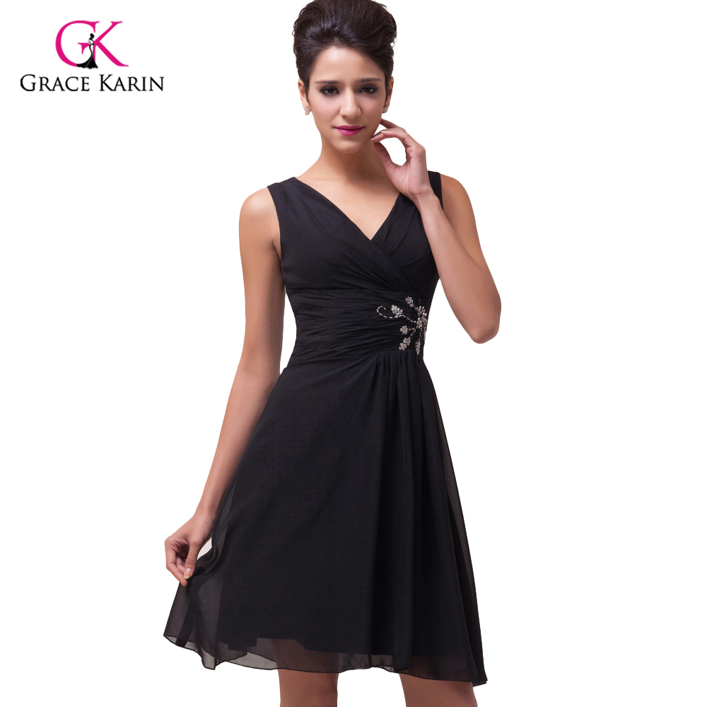 ≧2018 Fashion Design Grace Karin V-neck Black Prom Dresses short ...