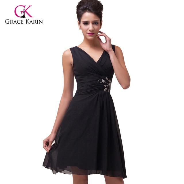 2018 Fashion Design Grace Karin V neck Black Prom Dresses short Knee ...