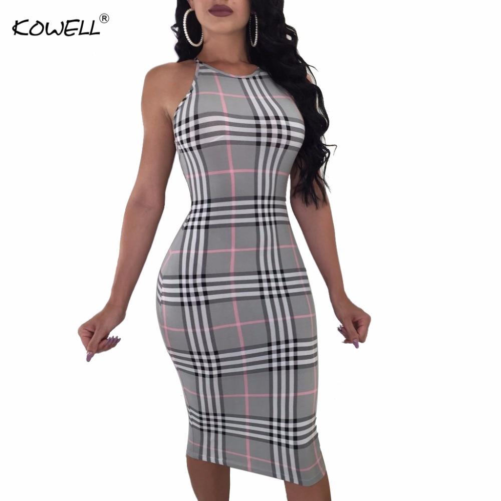 2018 New Stely Women Plaid Slim Lady Summer Dress Vintage Elegant Party Dress Sexy Bodycon Dress Vestidos