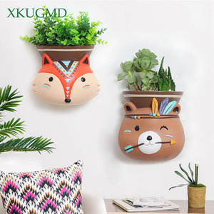 Image 2 - Creative Indoor Wall Mounted Hanging Animal Pots Planter Succulents Elephant Owl Fox Deer Bear Pendant Vase Home Wall Decoration