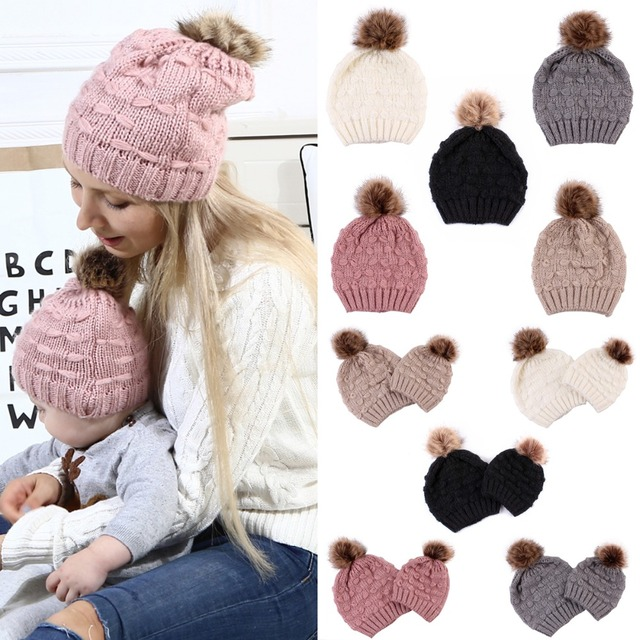 4a7d7552e03dd Puseky Knit Fur Pom Hat Winter Warm Ski Snow Earflaps Cap Ladies Crochet Beanie  Hats or Mother Kids Family Matching Set Optional