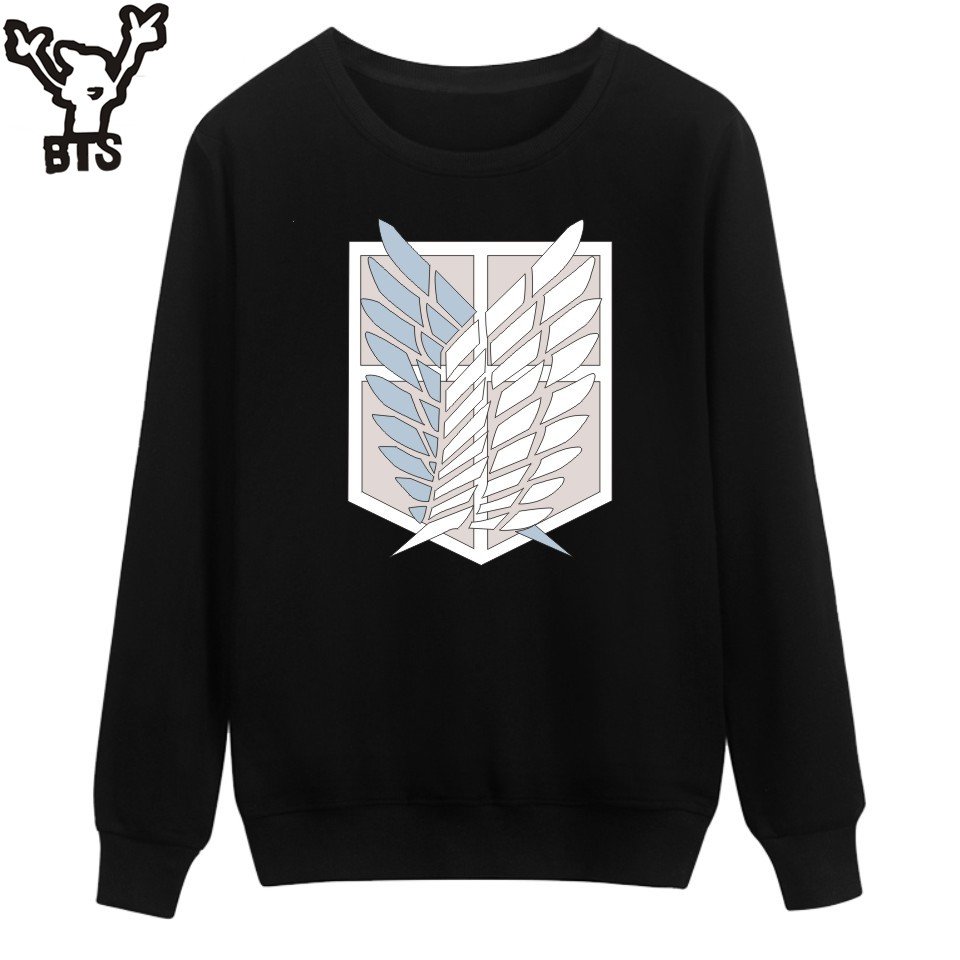 BTS Attack On Titans Sweatshirt Men Hoodie Autumn Fashion Funny Cartoon Capless Hoodies Kids Japan Popular Anime Revie Clothes