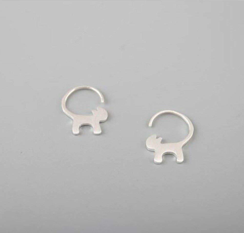 925 Sterling Silver Earrings Cats Long Tail Sex Ear Studs Female Element Silver  Silver Earrings T0265