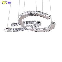 FUMAT Modern Chrome Pendant Lamp Crystals Diamond Ring LED Lamp Stainless Steel Hanging Light Adjustable Cristal LED Lustre