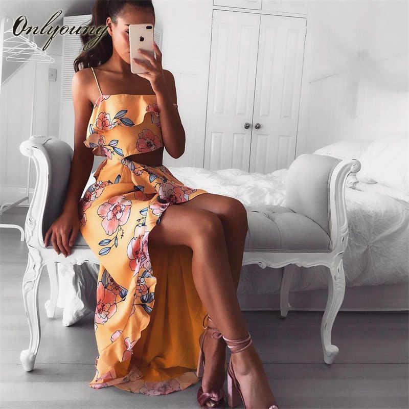 Onlyoung 2018 Summer Boho Women Floral Maxi Dress Spaghetti Strap  Asymmetrical Split Long Tunic Beach Dress 16a1d3ef717f