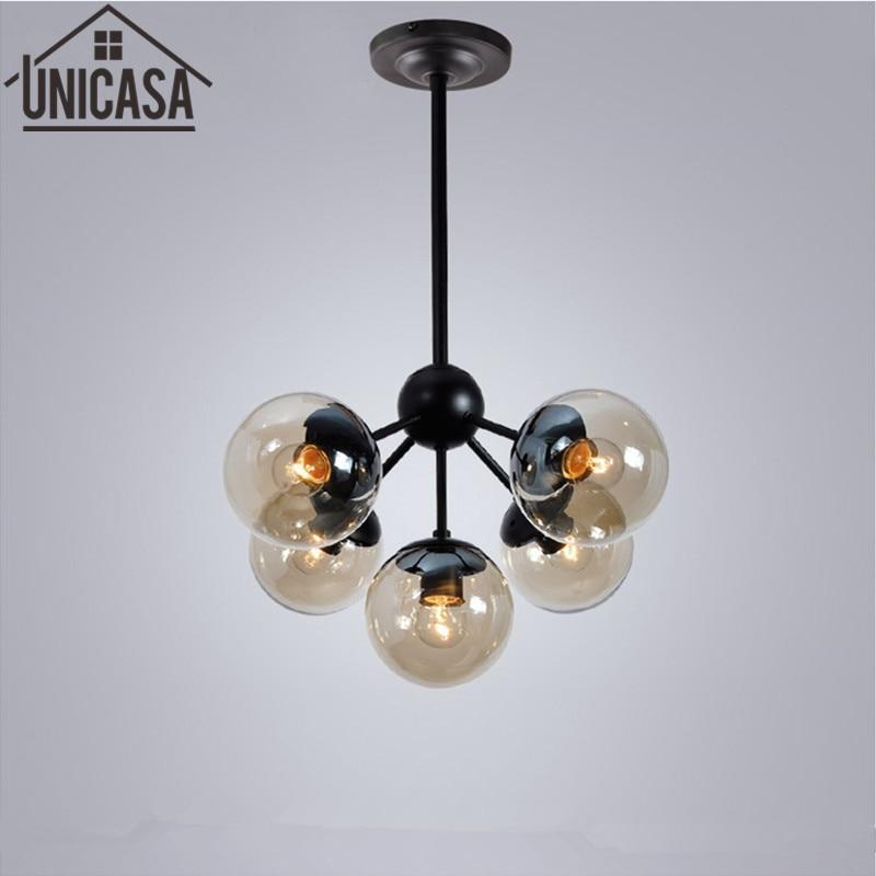 все цены на modern pendant light industrial  lighting bar Amber Glass Black  lights DNA molecular vintage ceiling lamp kitchen lamps 5 онлайн