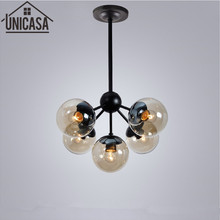 modern pendant light restaurant lighting bar Amber Glass Black industr  lights DNA molecular vintage ceiling lamp kitchen lamps pendant light for restaurant 5 8 heads beanstalk dna molecules vintage pendant lamp nordic iron pendant lighting glass shades