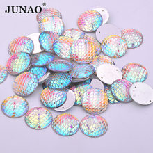 JUNAO 100pcs 18mm Crystal AB Sewing Rhinestones Round Flatback Strass  Applique Resin Fish Scales Face Jewel For Clothes Decor 979897c7f4c8