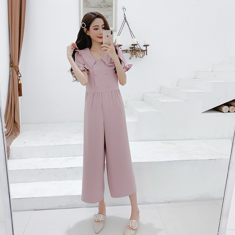 Korean Style 2019 Women Jumpsuits High Waist Wide-leg Woman Bodysuit Peter Pan Collar Rompers Womens Jumpsuit Combinaison Femme