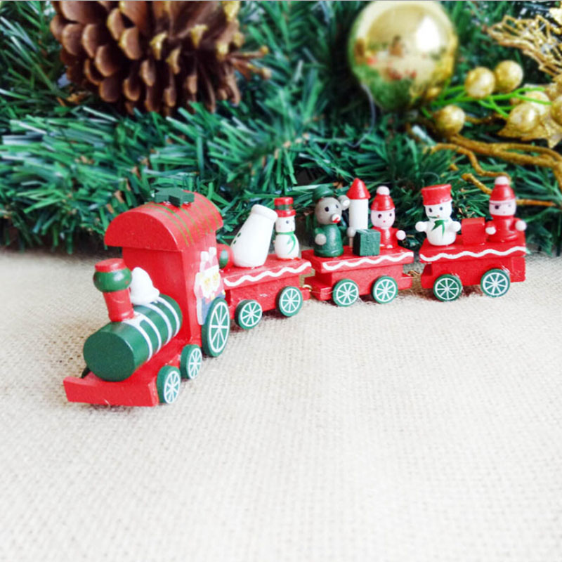 1Pc Wooden Railway Trains Toy Model Great Kids Boy Toys For Children Christmas Gifts Christmas Tree Decoration Ornament Navidad