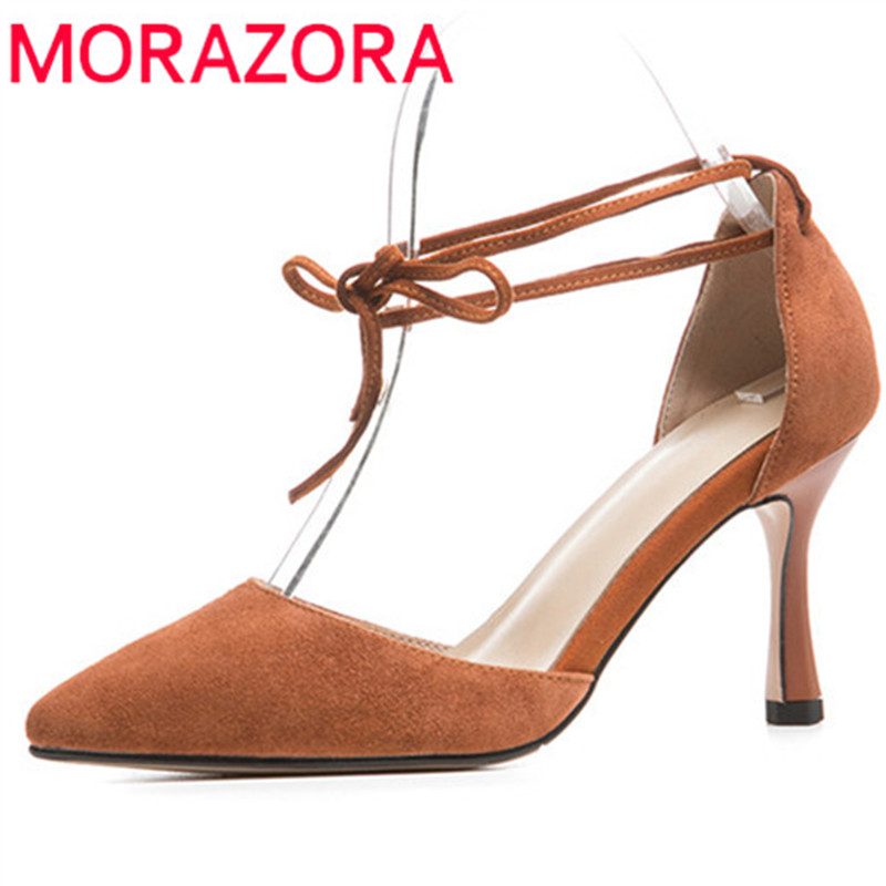 MORAZORA 2018 new arrival pumps women shoes pointed toe summer shoes suede leather party wedding shoes high heels shoes woman new arrival fucshia color pointed toe women wedding shoes 10cm high heels woman pumps ladies fashion shoes free shipping