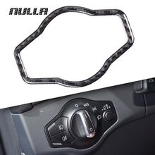 NULLA Carbon Fiber Car Interior Headlight Head Lamp Switch Button Cover Frame for AUDI A4 B8 A5 Q5 8R 2007 2008 2009 - 2011 2015(China)