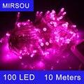 MIRSOU 220 V Enchufe de LA UE 10 M 100 Led LED Cadena Fiesta de Navidad de Luz Lámparas Lámpara LED de Colores Al Aire Libre