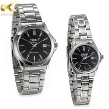 Lancardo Casual Pareja Amantes de Cuarzo Relojes Reloj Masculino de Acero Inoxidable Reloj de Pulsera con Fecha del Calendario de Las Mujeres y Hombres Reloj