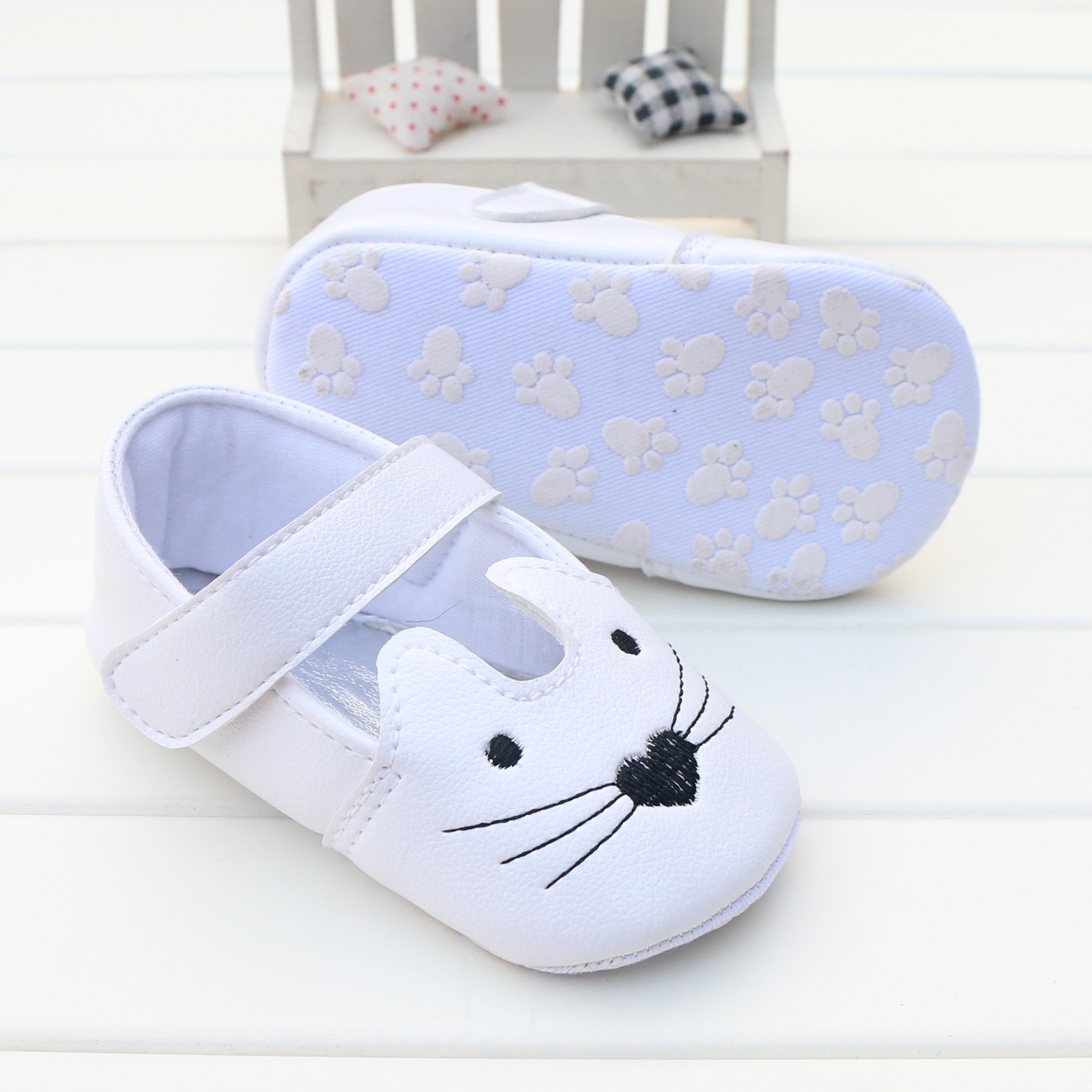 Baby First Walkers Baby Shoes Cartoon Pu Soft Bottom Non-slip Toddler Shoes for Baby Girls