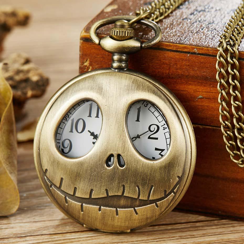 Vintage Tim Burton The Nightmare Before Christmas Quartz Pocket Watch Jack Skellingt On Bronze Chain Necklace Clock Men Women