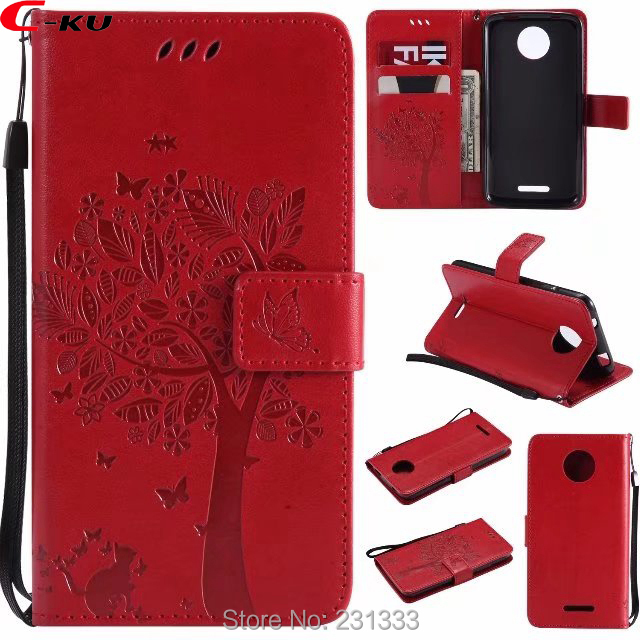 C-ku Strap Wallet PU Leather Pouch Case For Motorola MOTO C PLUS E4 Tree TPU Stand ID Card Holder Cell phone Cover Luxury 100PCS