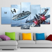 ФОТО canvas modern hd printed wall art pictures frame 5 pieces millennium falcon x-wing movie star wars paintings home decor posters