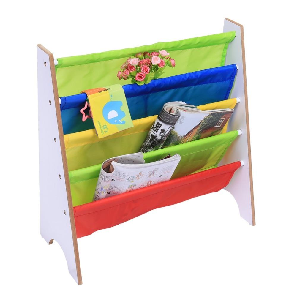 Multi-color Pocket Wooden Bookshelf Kids Bookshelf Creative Children Furniture Bookcase Shelve Toy Storage Rack