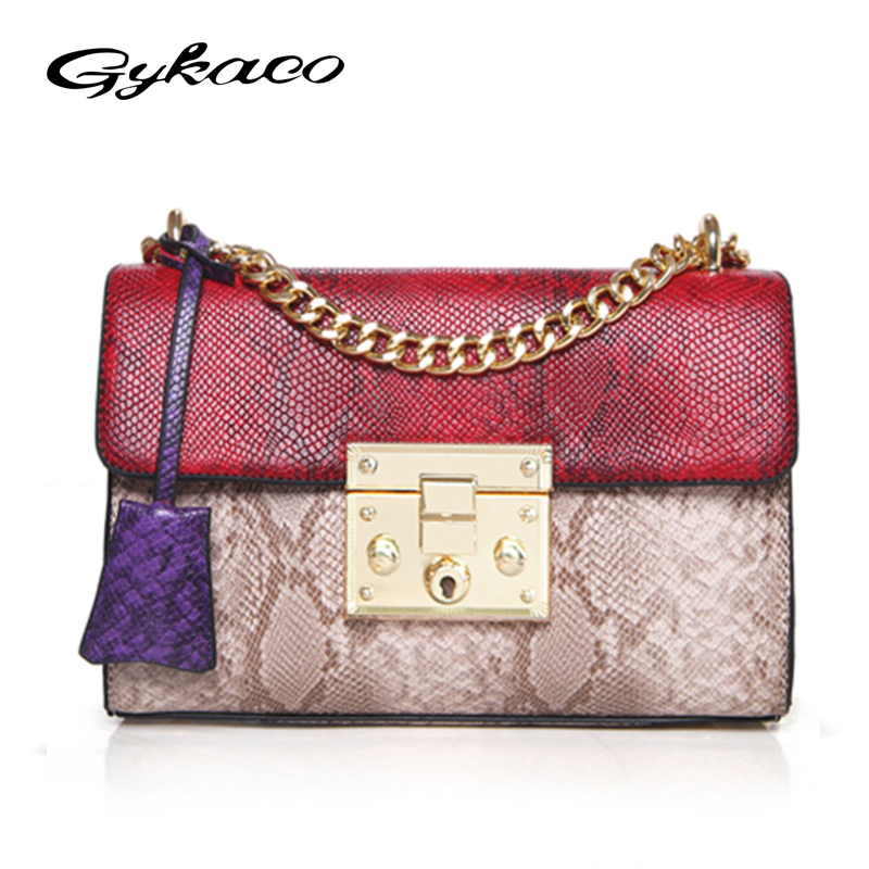 Gykaeo Retro Vintage Women Serpentine Messenger Bag Patchwork Crossbody Bag High Quality Female Snake Leather Chain Shoulder Bag yuanyu 2018 new hot free shipping python leather single shoulder bag imports snake skin messenger bag chain female women bag