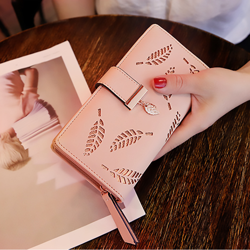 2018 Women Wallet Purse Female Long Wallet Gold Hollow Leaves Pouch Handbag For Women Coin Purse Card Holders Portefeuille Femme 1