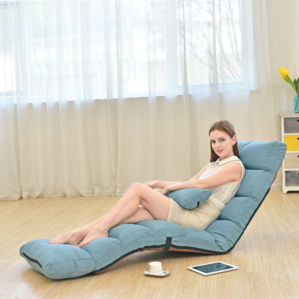 Floor-Chair Sofa-Bed Fabric Lazy-Sofa Adjustable Strong-Bearing Leisure Line With Feet-Cushion
