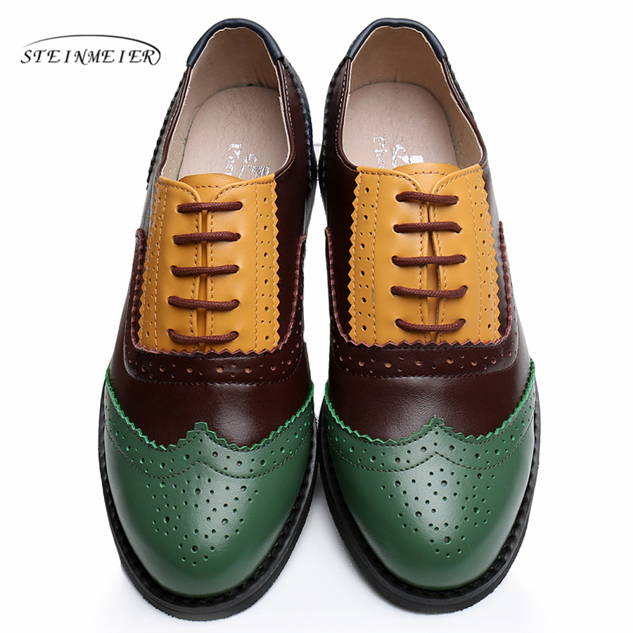 Genuine leather shoes women US size 11 handmade yellow green brown 2017 vintage flat British style oxford shoes for women fur xiuningyan vintage british style oxford shoes for women genuine leather flat shoes women us size13 handmade black leather shoes