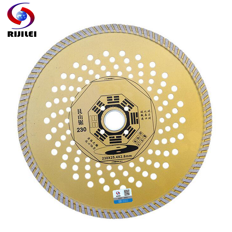 RIJILEI 9inch 230mm * 25.4 * 2.8 Ultra-subțire Marmură de diamant de tăiere Disc vitrificat Tăietură vitrificată Roată Taietoare cu diamant uscat și umed MX04