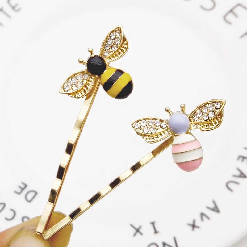 1Pcs Kawaii Mini Bee Berlian Logam Rambut Klip Rambut Sisir Pin Barrette Jepit Rambut Bulang Aksesoris Kecantikan Alat Penata Rambut