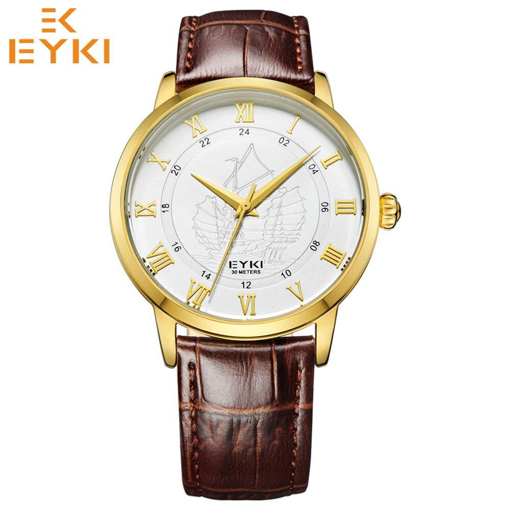 Relógio de Quartzo Relógios de Pulso à Prova Pulseira de Couro Eyki Super Fashion Homens Mulheres Analógico d' Água Relógio Masculino Montre Femme Top