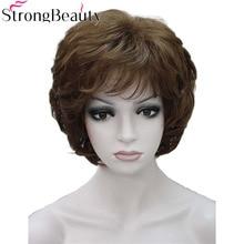 強力な美容女性かつらショート波状ゴールデンブロンドの髪合成キャップレスかつら 16 色