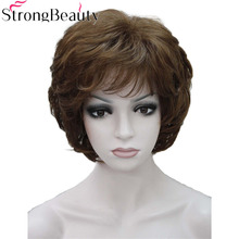 Güçlü Güzellik Bayanlar Peruk Kısa Dalgalı Altın sarı saç Kadınlar Için Sentetik Kapaksız Peruk 16 Renk