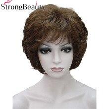 Starke Schönheit Damen Perücken Kurze Wellig Goldenen Blonde Haar Für Frauen Synthetische Capless Perücke 16 Farben