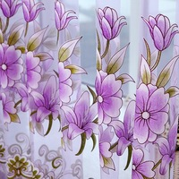 2016 Curtains Modern Floral Tulle Curtains For Living Room Curtains For Bedroom Kitchen Free Shipping