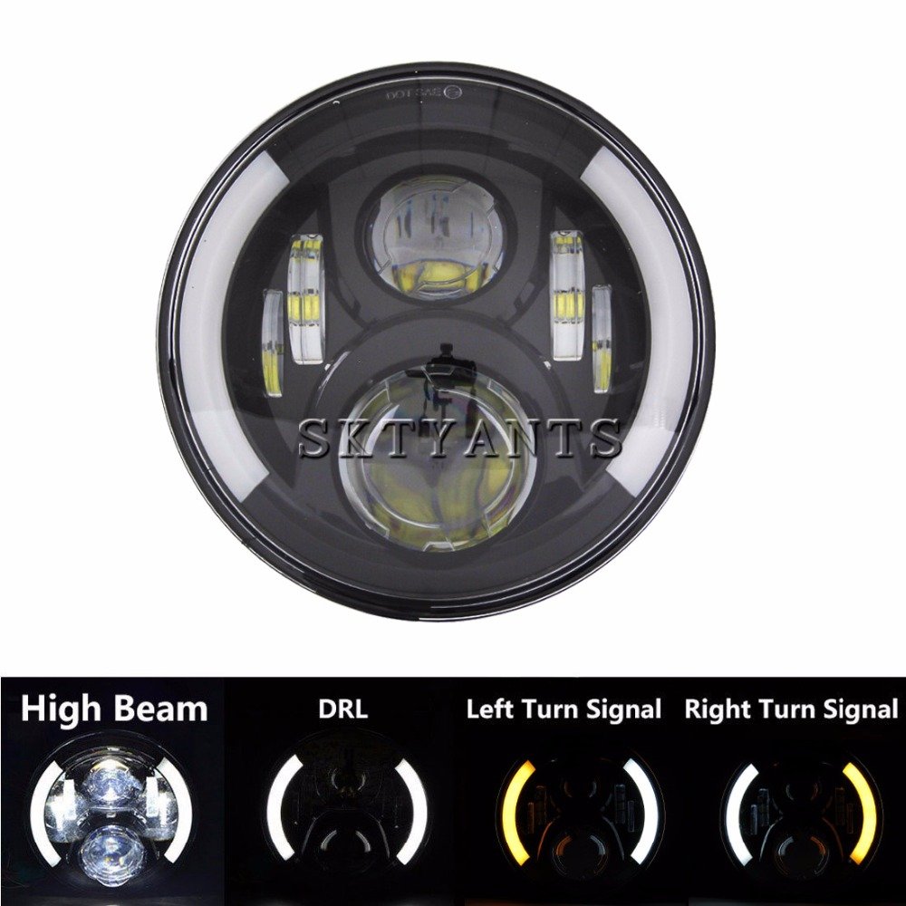 7 pouces Led moto phare Halo Angel Eye DRL clignotants H4 H13 pour Har ely Softail Dyna Sportster