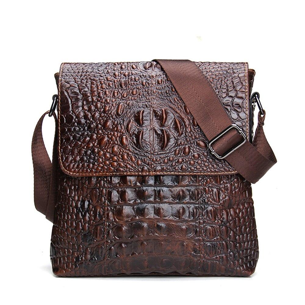 Crocodile Grain 100% Genuine Leather Men Messenger Bag Casual Crossbody Bag Business Men's Handbag Bags for gift Shoulder Bags regem men briefcase fashion business genuine leather the crocodile grain