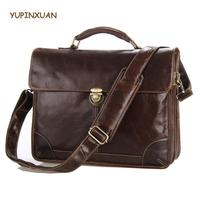 YUPINXUAN Europe Fashion Mens Genuine Leather Handbags High Quality Cow Leather Briefcases Big Real Leather Laptop