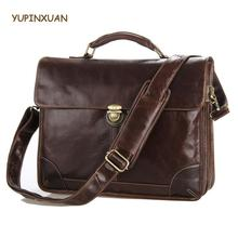 YUPINXUAN Europe Fashion Mens Genuine Leather Handbags High Quality Cow Leather Briefcases Big Real Leather Laptop Messenger Bag