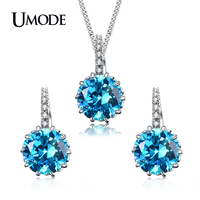 UMODE Brand Blue Cubic Zirconia Wedding Jewelry Sets For Women White Gold Color Crystal Necklace and Earrings Sets Gift AUS0037