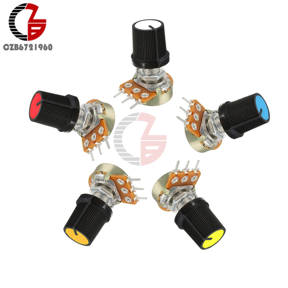 5PCS Red Linear Taper Rotary Potentiometer Resistor Cap Knob For Arduino 1K 2K 5K 10K 20K 50K 100K 250K 500K 1M Ohm(China)