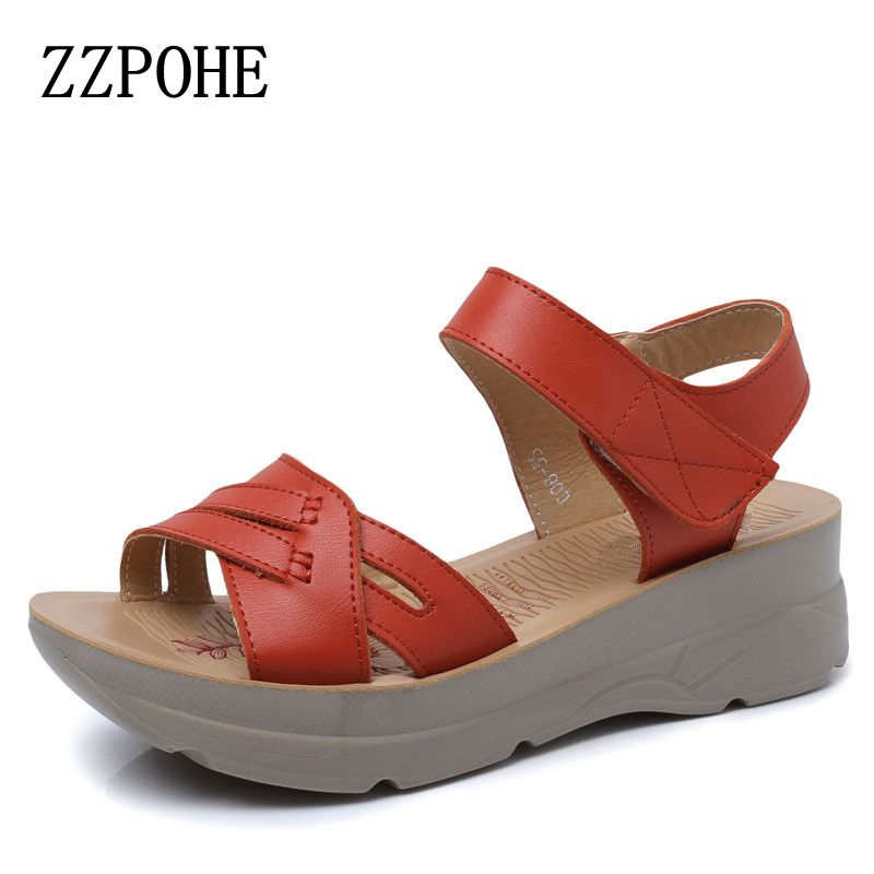 ZZPOHE Fashion leather Woman Sandals 2017 summer new casual comfortable thick Women's sandals high-heeled Women shoes Size 35-40 summer shoes woman handmade genuine leather soft sandals casual comfortable women shoes 2017 new fashion women sandals